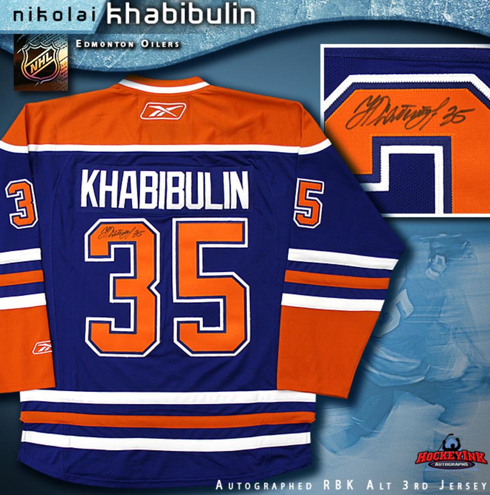 NIKOLAI KHABIBULIN Signed Blue RBK Edmonton Oilers Alternate 3rd Jersey