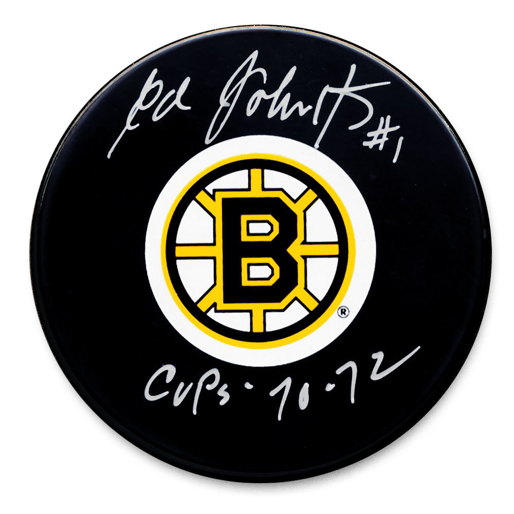 Ed Johnston Boston Bruins 70 & 72 Cups Autographed Puck