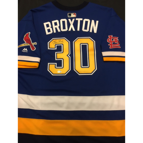 Photo of Cardinals Care Auction: Jonathan Broxton Autographed Team-Issued St. Louis Blues Themed Cardinals Jersey
