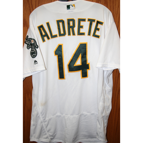 """Photo of Mike Aldrete Game-Used """"Atleticos"""" Jersey"""