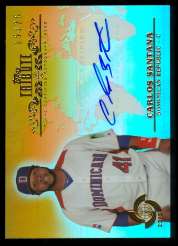 Photo of 2013 Topps Tribute WBC Autographs Orange #CS2 Carlos Santana