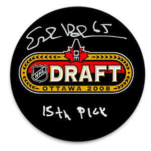 Erik Karlsson Ottawa Senators 2008 Draft Day Autographed Puck w/ 15th Pick Inscription