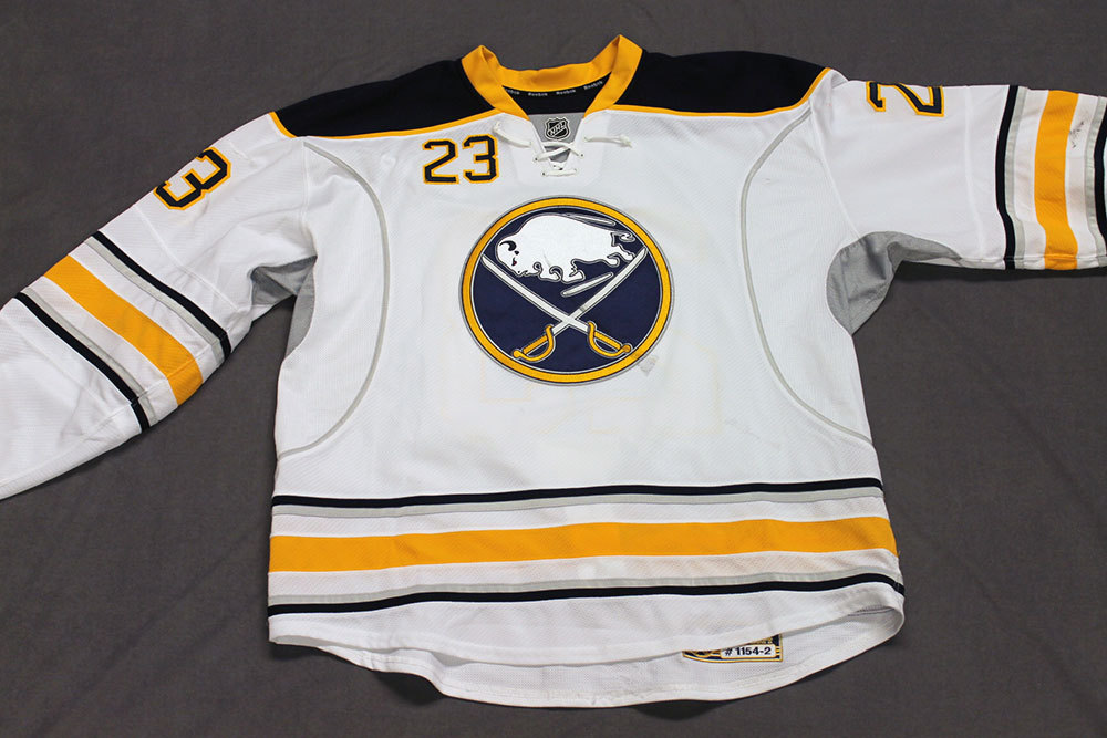 Ville Leino Game Worn Buffalo Sabres Away Jersey.  Serial: 1154-2. Set 2 - Size 58.  2013-14 season.