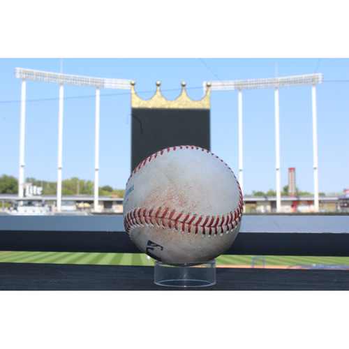 Photo of Game-Used Baseball: Mike Moustakas (706th Hit & 353rd RBI), Brandon Moss (708th Career Hit, 444th), & Alcides Escobar (1189th Career Hit, 184th Career Double) (DET at KC - 7/20/17)