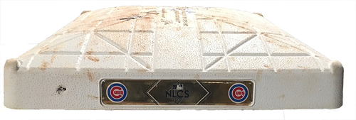 Photo of Game-Used 2017 Postseason Base -- Cubs vs. Dodgers -- 10/17/17 -- NLCS Game 3