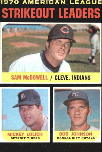 Photo of 1971 Topps #71 AL Strikeout Leaders/Sam McDowell/Mickey Lolich/Bob Johnson
