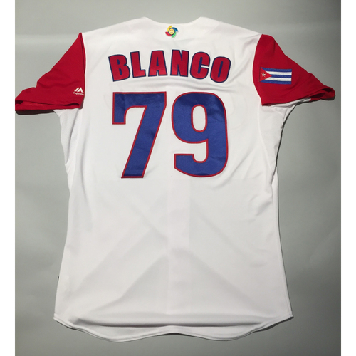 Photo of 2017 WBC: Cuba Game-Used Home Jersey, Blanco #79