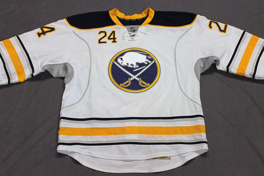 Zenon Konopka Game Worn Buffalo Sabres Away Jersey.  Serial: 1130-1. Set 2 - Size 56.  2013-14 season.