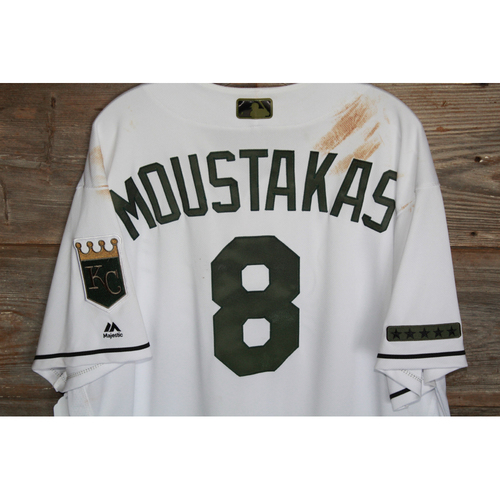 Photo of Game-Used Mike Moustakas Memorial Day Jersey (Size 46) (5/29/17 DET @ KC)