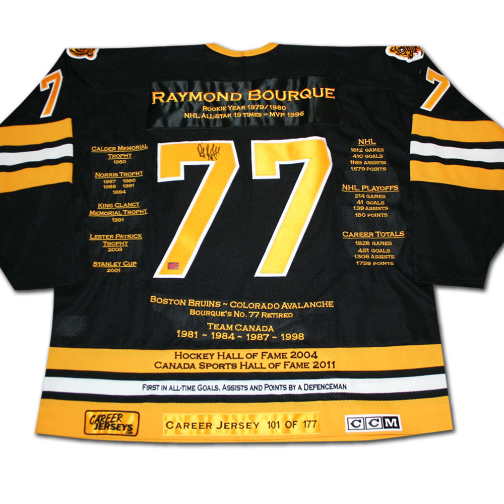 Ray Bourque Autographed Career Stats Limited-Edition Boston Bruins  Jersey - #109/177