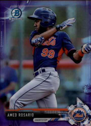 Photo of 2017 Bowman Chrome Prospects Purple Refractors #BCP76 Amed Rosario RC /250