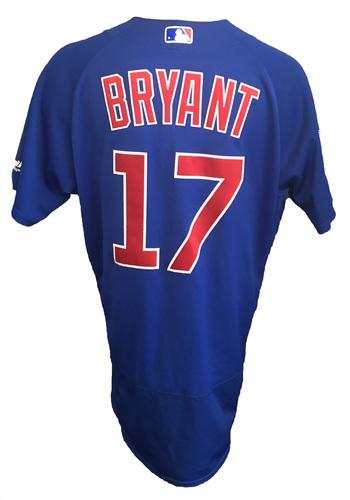 Photo of Kris Bryant Game-Used Jersey -- Bryant 3 Hits, 21st HR of Season, Extends Hitting Streak to 10 Games -- Cubs at Diamondbacks -- 8/13/17