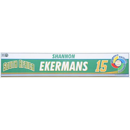 Photo of 2009 World Baseball Classic: Shannon Ekermans (RSA) Game-Used Locker Name Plate