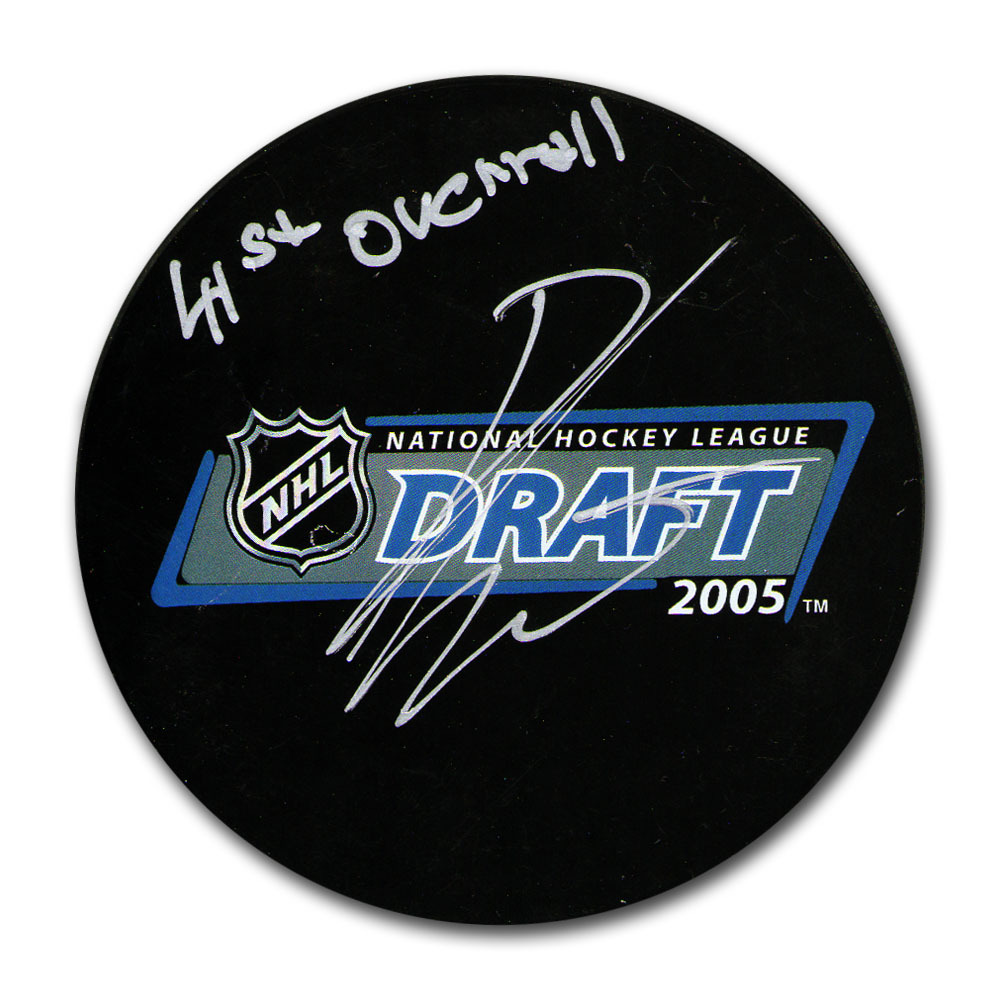 Ondrej Pavelec Autographed 2005 NHL Entry Draft Puck w/41ST OVERALL Inscription (Winnipeg Jets)