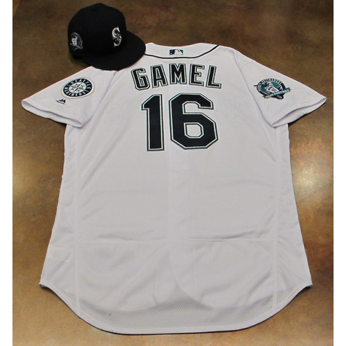 Photo of Ben Gamel White Home Game-Used Jersey & Cap With Edgar Martinez Patch Worn 8-12-2017
