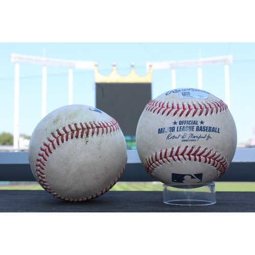 Photo of Game-Used Baseballs: Eddie Rosario 347th Career Hit (MIN at KC - 9/10/17) & Robbie Grossman 68th Career Double, 335 Career Hit (MIN at KC - 9/8/17)