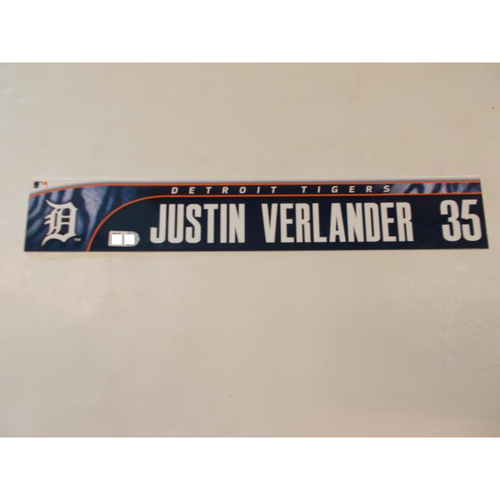 Photo of Justin Verlander Game-Used Locker Name Plate