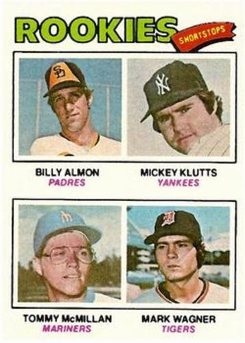 Photo of 1977 Topps #490 Rookie Shortstops/Billy Almon RC/Mickey Klutts RC/Tommy McMillan RC/Mark Wagner RC