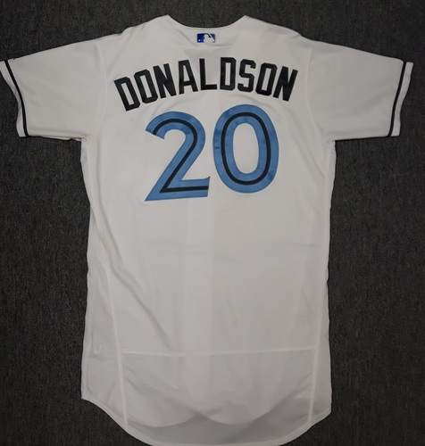 Photo of Authenticated Game Used Father's Day Jersey - #20 Josh Donaldson (June 18, 2017). Donaldson went 1-for-5