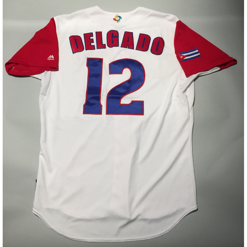 Photo of 2017 WBC: Cuba Game-Used Home Jersey, Delgado #12