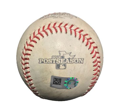 Photo of Game-Used Baseball from Pirates vs. Cardinals NLDS Game 4 on 10/7/13 - Wacha to Walker, Fouled Back to Screen