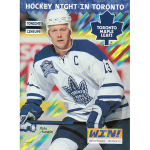 Air Canada Centre First Season Toronto Maple Leafs Game Program w/Mats Sundin on Cover