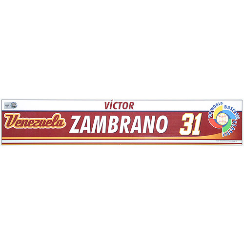 Photo of 2009 World Baseball Classic: Victor Zambrano (VEN) Game-Used Locker Name Plate