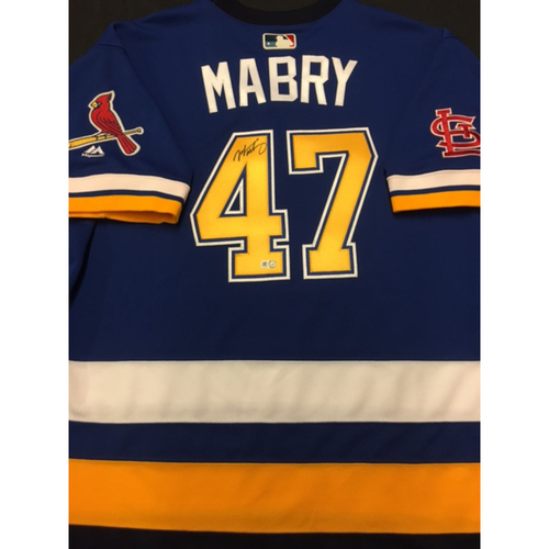 Photo of Cardinals Care Auction: John Mabry Autographed Team-Issued St. Louis Blues Themed Cardinals Jersey