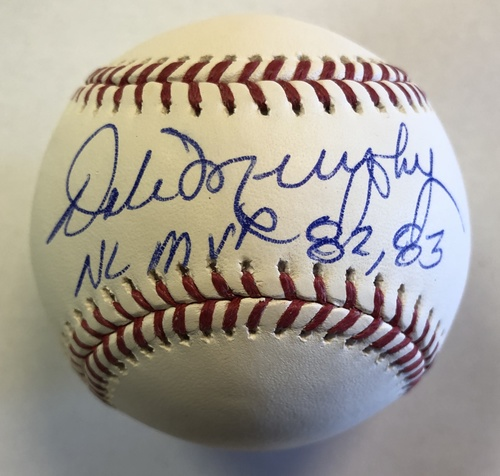 Photo of Dale Murphy Autographed Official Major League Baseball with 82-83 NL MVP Inscription