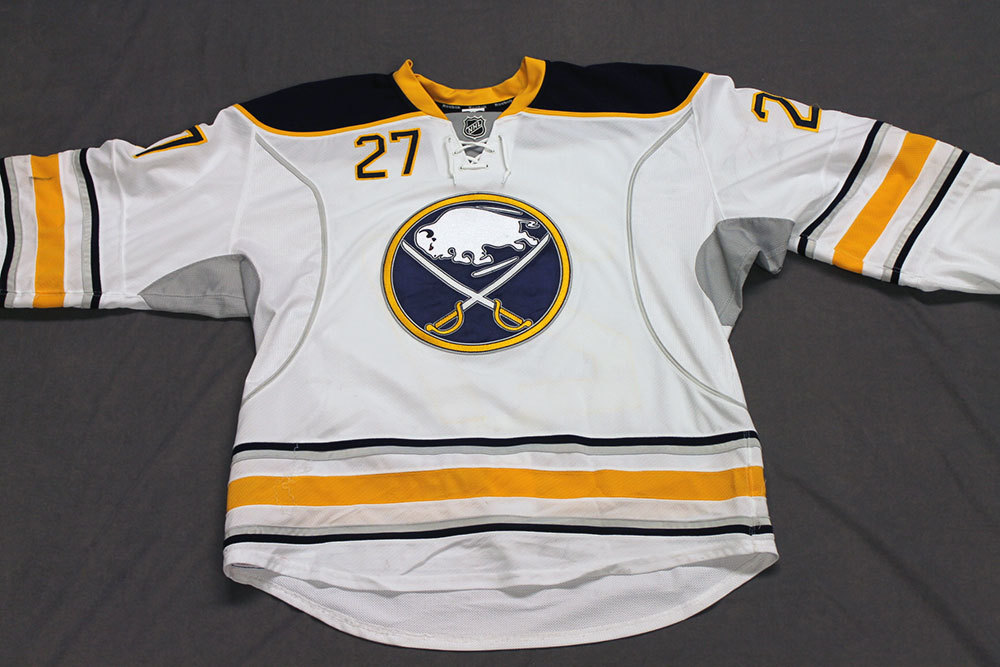 Matt D'Agostini Game Worn Buffalo Sabres Away Jersey.  Serial: 1062-1. Set 2 - Size 56.  2013-14 season.