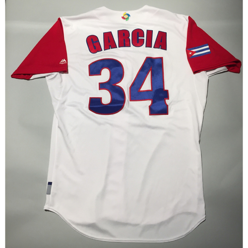 Photo of 2017 WBC: Cuba Game-Used Home Jersey, Garcia #34