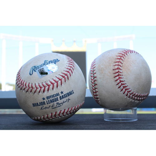 Photo of Game-Used Baseballs: Eduardo Escobar 103rd Career Double, 475th Career Hit (MIN at KC - 9/8/17) & Joe Mauer 1963rd Career Hit (MIN at KC - 9/7/17)