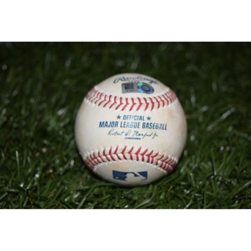 Photo of Game-Used Baseball: Mikie Mahtook Double off Drew Pomeranz