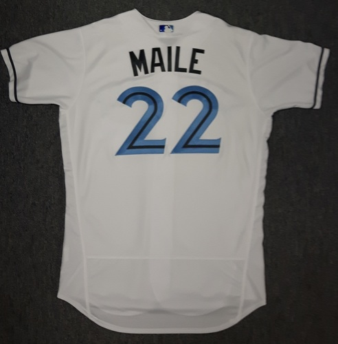 Photo of Authenticated Game Used Father's Day Jersey - #22 Luke Maile (June 18, 2017)