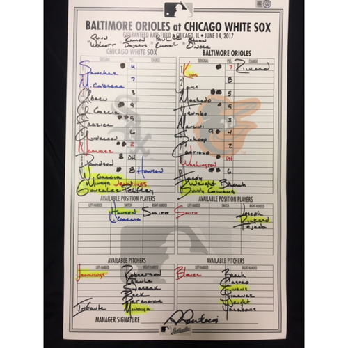 Photo of Large Game-Used Lineup Card from June 14, 2017: Chicago White Sox vs. Baltimore Orioles