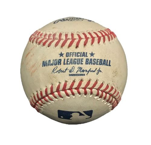 Photo of Game-Used Baseball from Pirates vs. Nationals on 7/25/15 - Burnett to Taylor, Strikeout (Burnett Career K #2477)