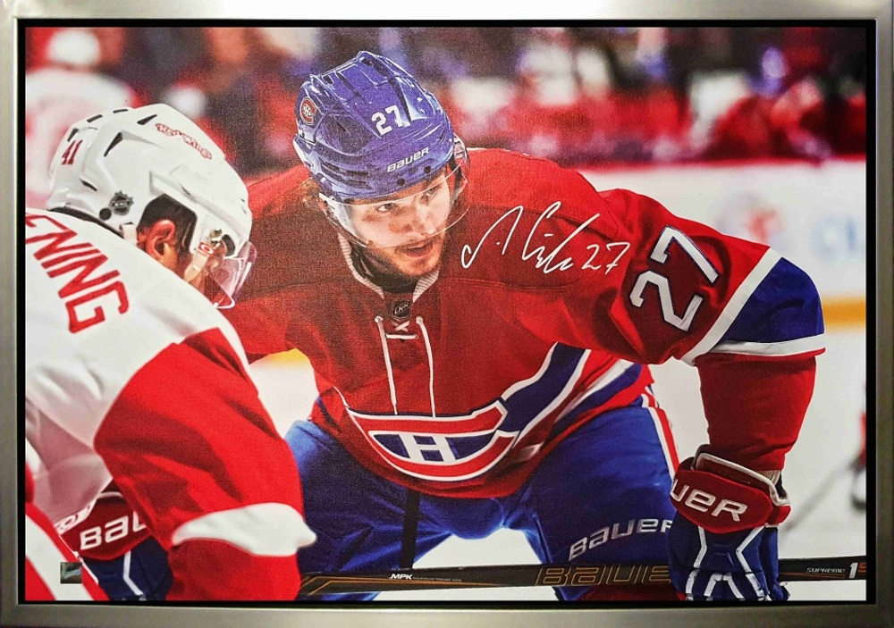 Alex Galchenyuk - Signed & Framed 20x29 Canvas - Montreal Canadiens Leaning