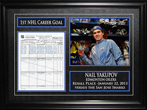 Nail Yakupov - Signed & Framed Scoresheet First Goal - Edmonton Oilers