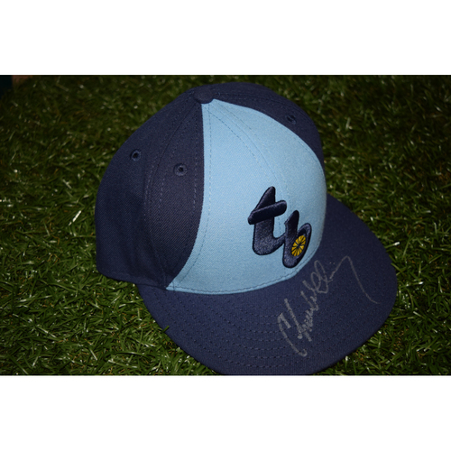 Photo of Game-Used Autographed Hat from Turn Back the Clock Night: Chase Whitley