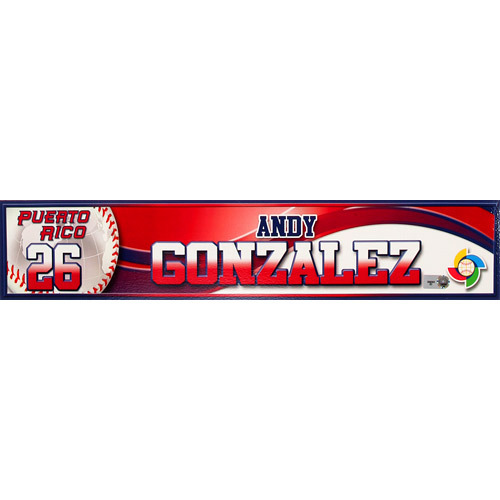 Photo of 2013 World Baseball Classic: Andy Gonzalez (PR) Game-Used Locker Name Plate