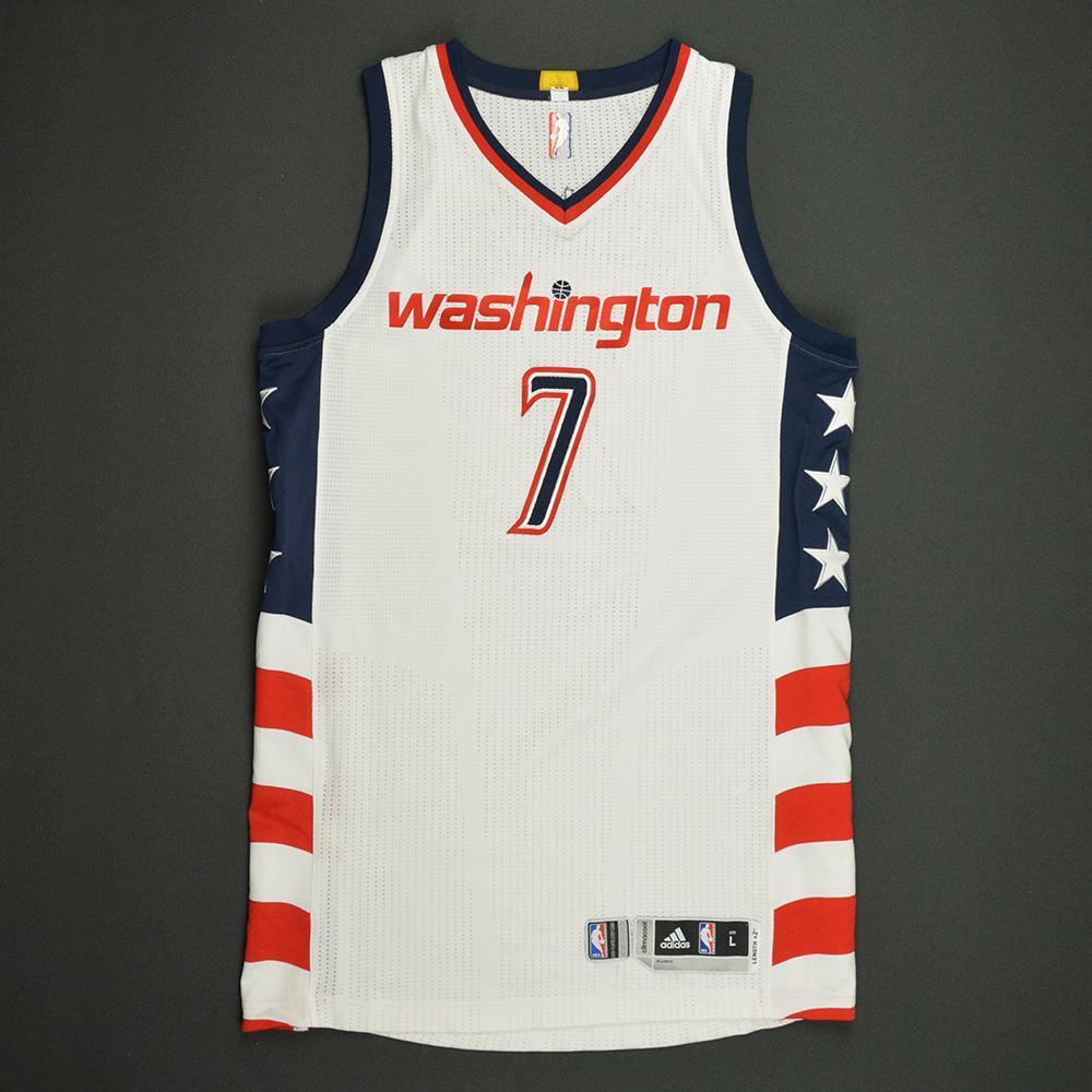 Brandon Jennings - Washington Wizards -White Playoffs Game-Worn Jersey - 2016-17 Season