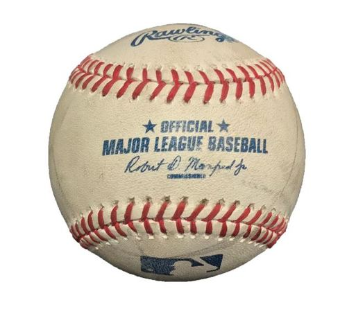 Photo of Game-Used Baseball from Pirates vs. Diamondbacks on 8/19/15 - Ray to McCutchen, Single