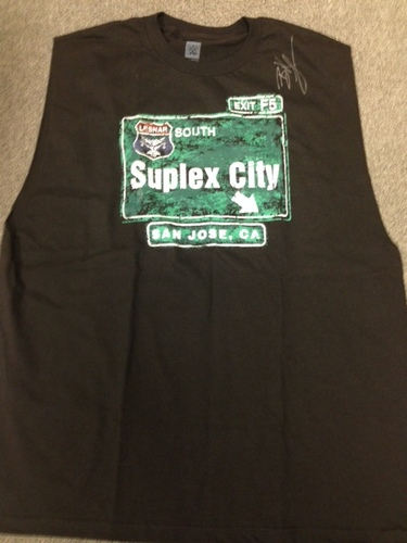 """Photo of Brock Lesnar SIGNED """"Suplex City: San Jose"""" T-Shirt"""