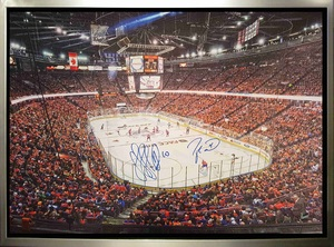Taylor Hall & Nail Yakupov - Dual-Signed & Framed 20x29 Oilers Arena Canvas