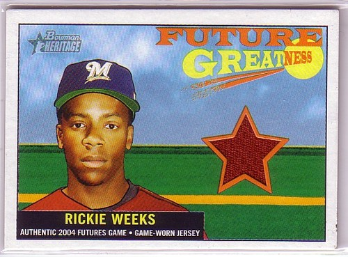 Photo of 2005 Bowman Heritage Future Greatness Jersey Relics #RW Rickie Weeks D