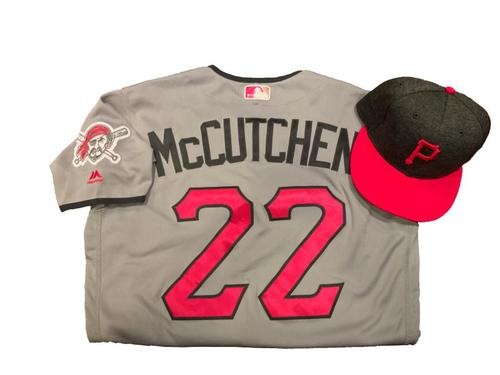 Photo of Andrew McCutchen Game-Used Mother's Day Jersey and Hat (1 for 4, HR, 1 RBI)