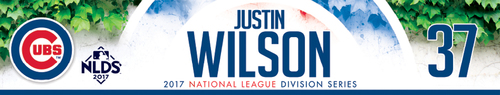 Photo of Justin Wilson Game-Used Locker Nameplate -- NLDS Game 3 -- Nationals vs. Cubs -- 10/9/17
