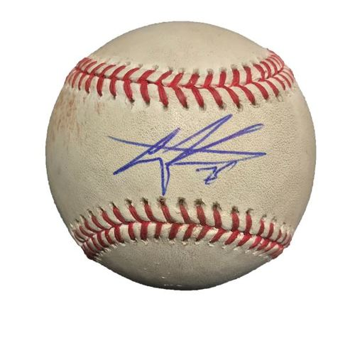 Photo of Autographed Game-Used Baseball - Gregory Polanco RBI Double