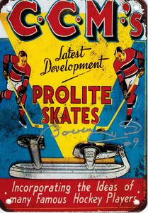 BOBBY HULL Signed Vintage Metal CCM Prolite Hockey Skates Sign