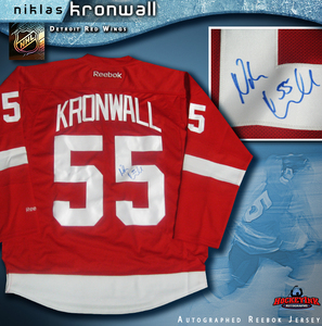 NIKLAS KRONWALL Signed Detroit Red Wings Red Reebok Jersey